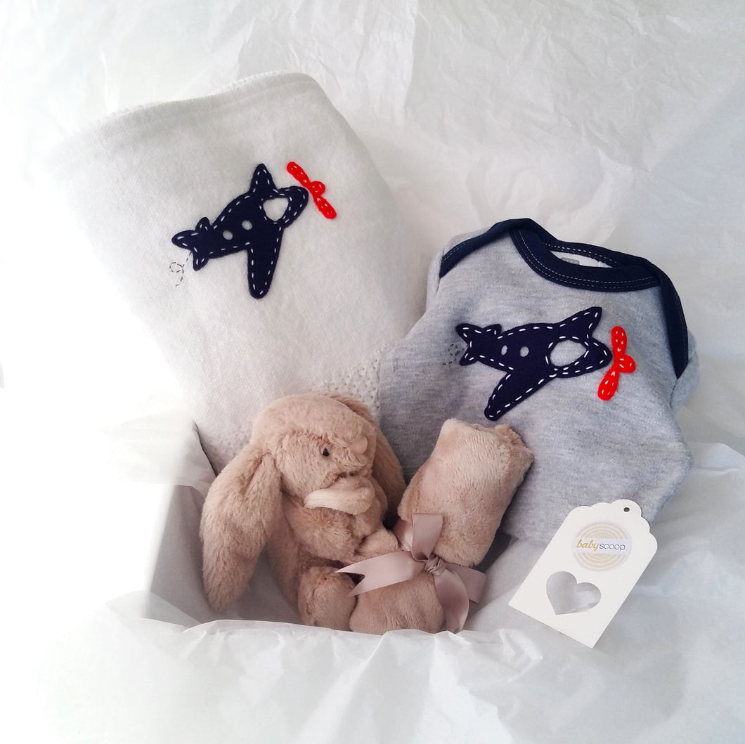 Cuddle Comfort Baby Boy Gift Set - Beige Bunny Soother Love