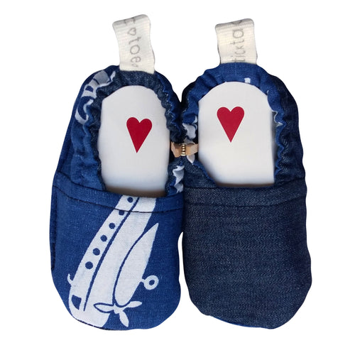 Stylish Reversible Baby Boy Shoes - Denim and Blue/White Print
