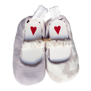 Stylish Reversible Baby Shoes - White with Grey Butterfly's