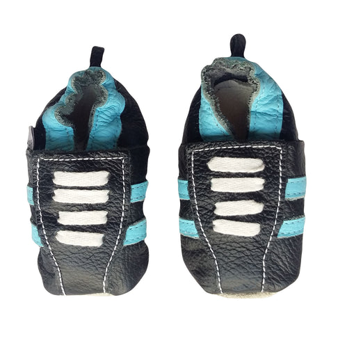 Genuine Leather Baby Boy Shoes - Navy Blue & Turquoise Stripe