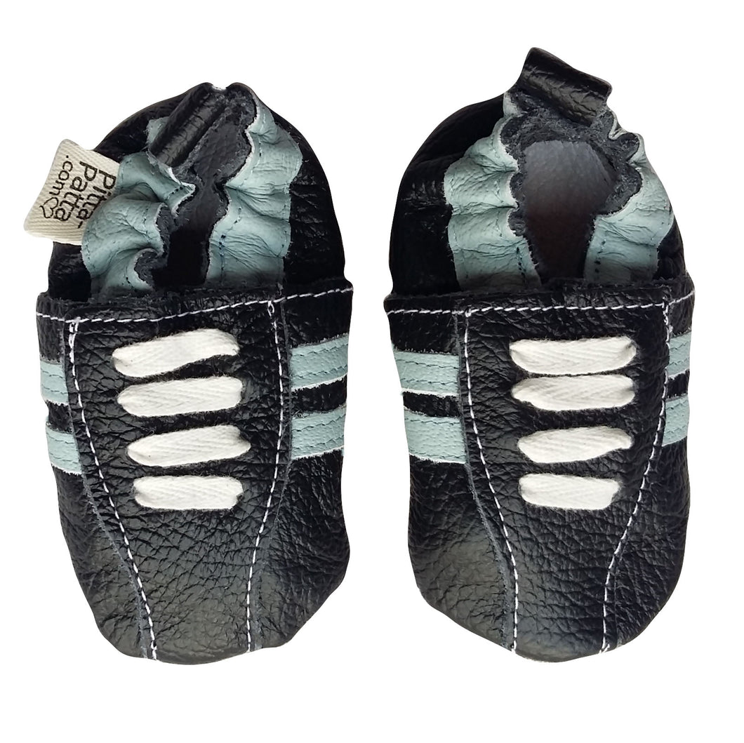 Genuine Leather Baby Boy Shoes - Navy Blue & Light Blue Stripe