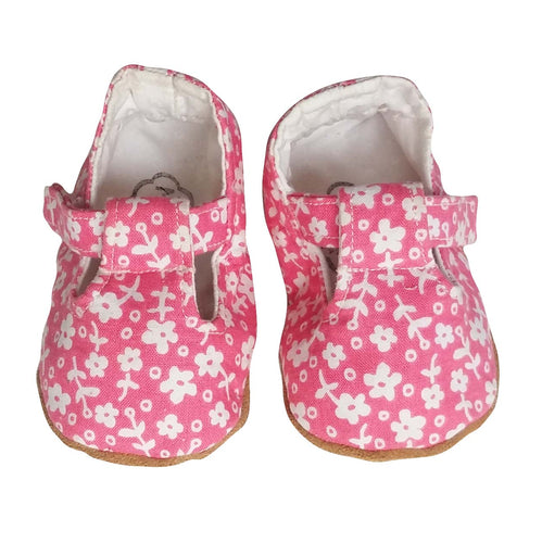 Stylish Baby Girl Shoes - Pink with White Flowers
