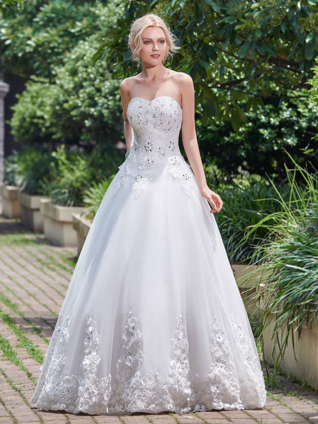 Princess Dropped Waist Embellished Sweetheart Wedding Dress - Size 14