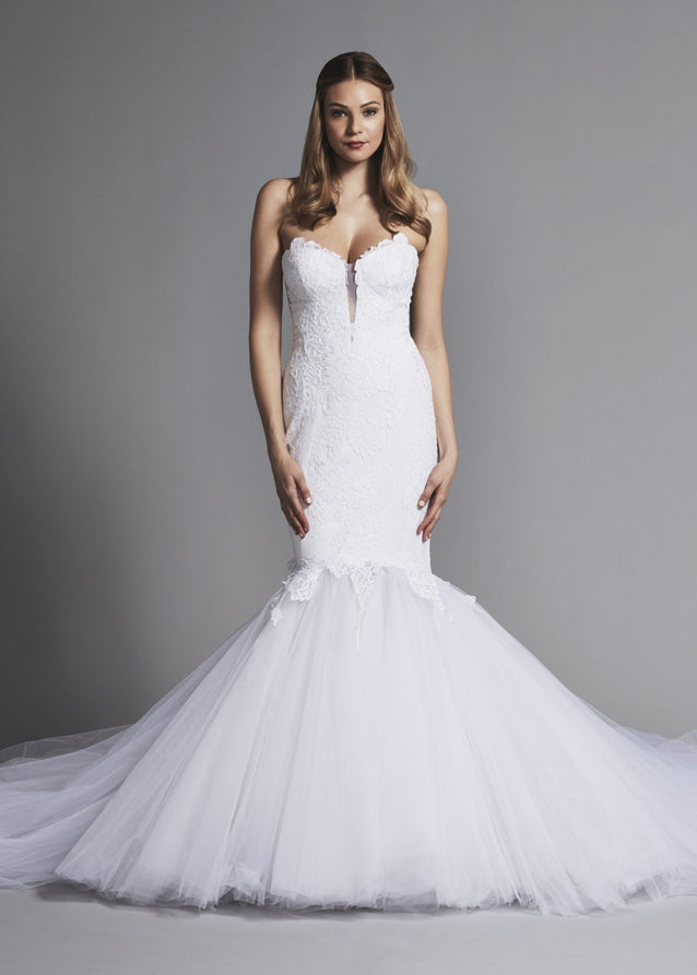 Nina Nai Dramatic Strapless Lace Mermaid Wedding Gown