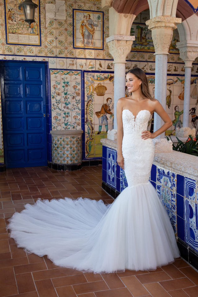 Strapless Beaded Mermaid Wedding Dess