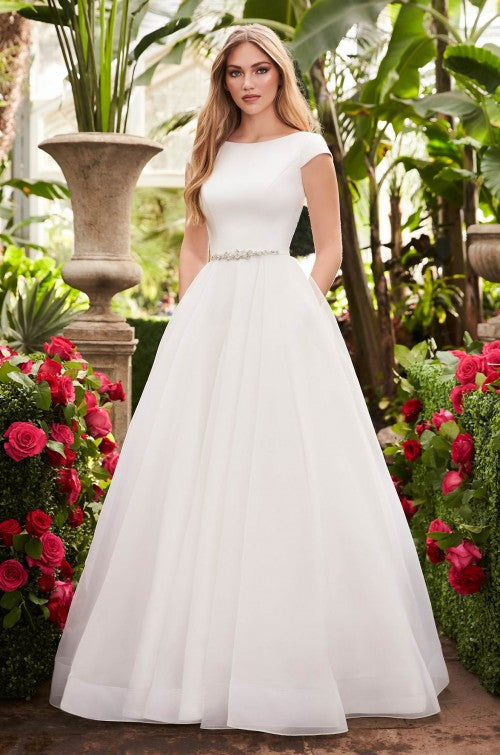 McKella Cap Sleeve Ballgown Dress