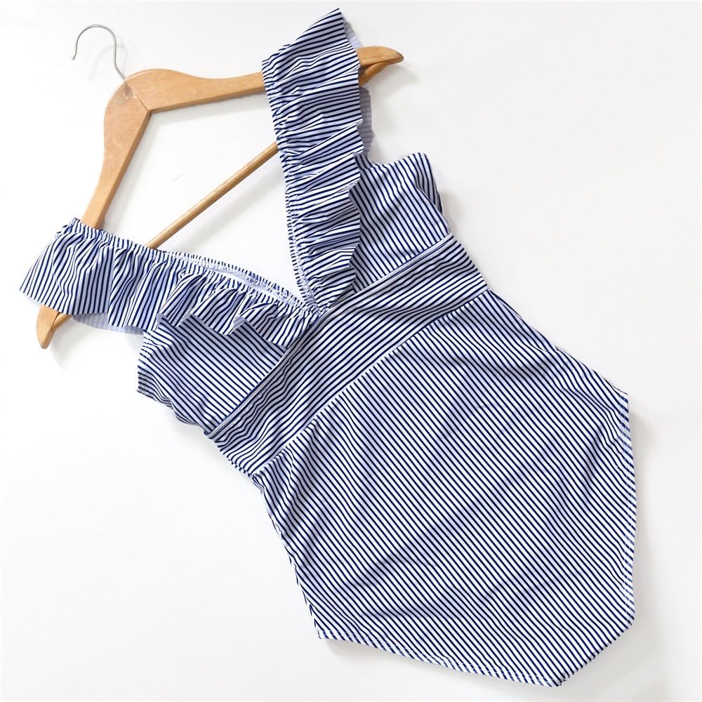 ruffle trim v neck swimsuit