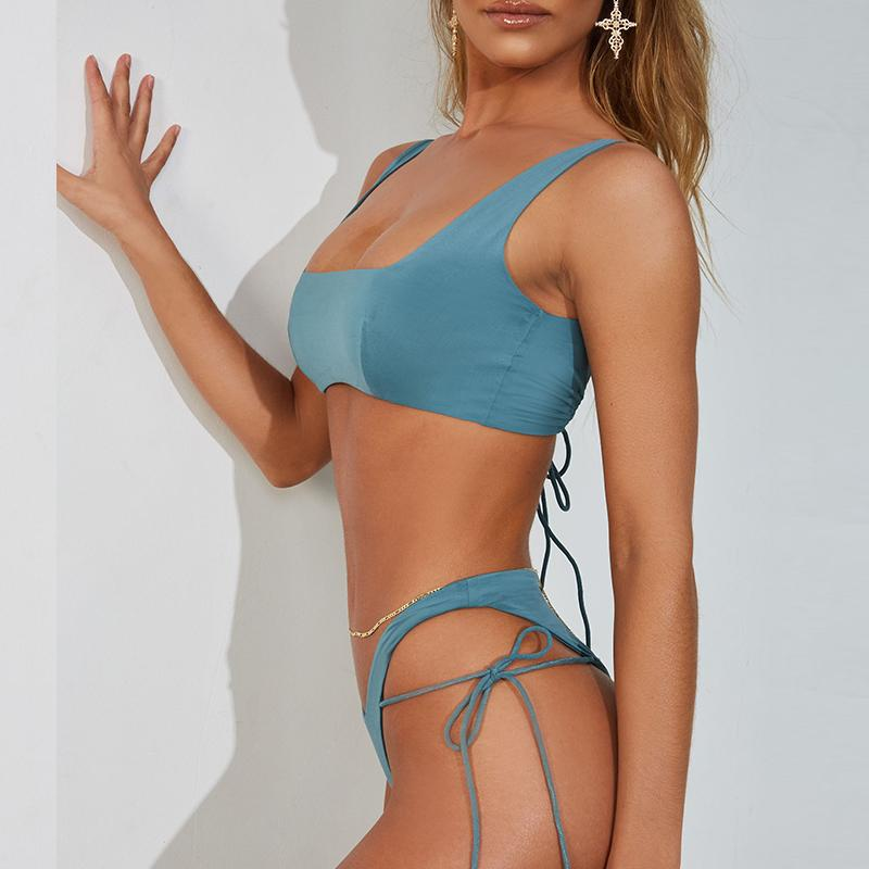 scoop neck bikini top & high leg strappy bottom