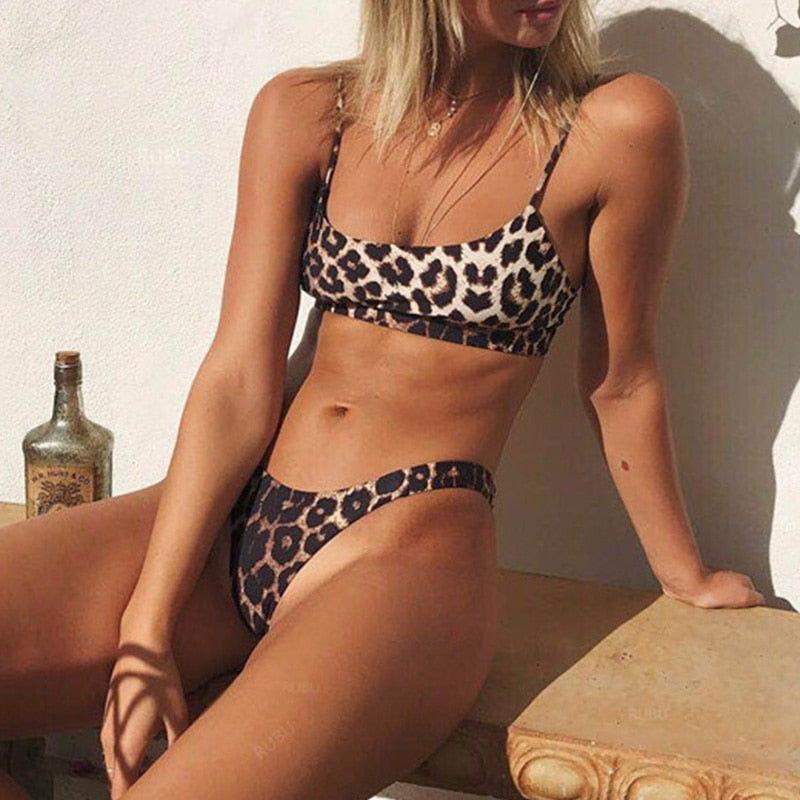 bandeau bikini top & high leg bottom set in leopard print