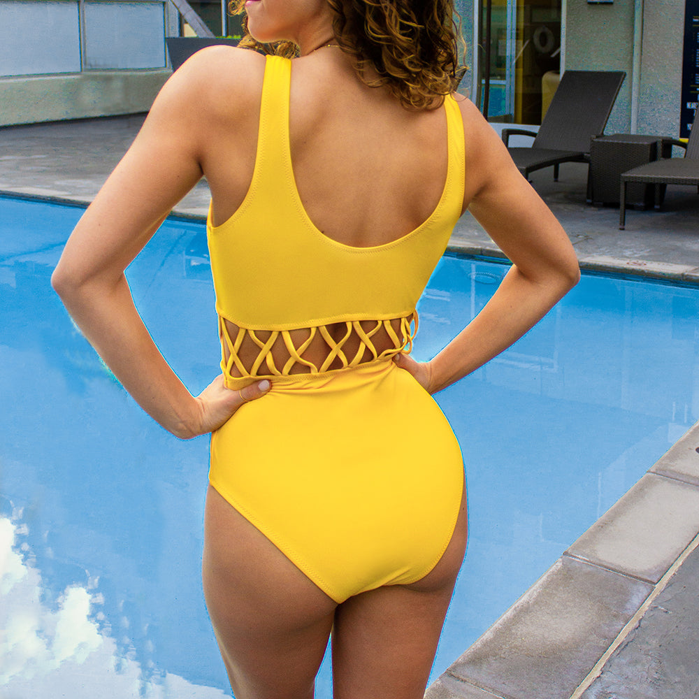 cut out swimsuit in yellow-Bikini-VENERA CLUB