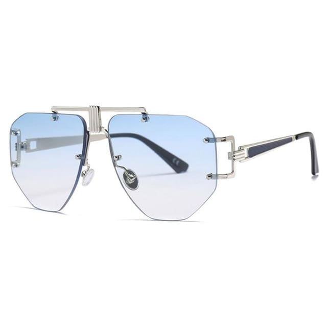 brow bar detail rimless sunglasses in 5 colors - blue - Sunglasses