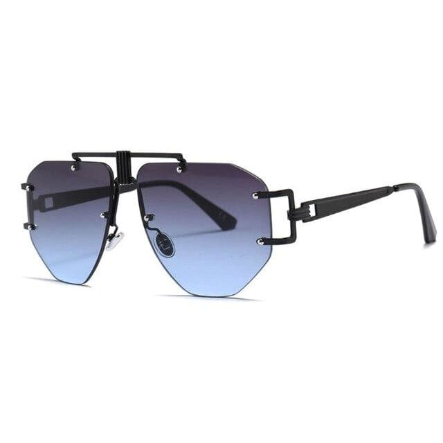 brow bar detail rimless sunglasses in 5 colors - grey blue - Sunglasses