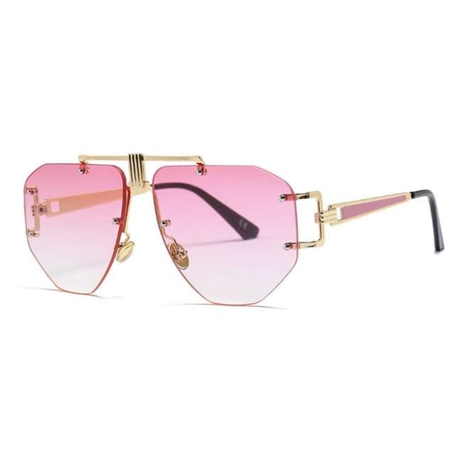 brow bar detail rimless sunglasses in 5 colors - pink - Sunglasses