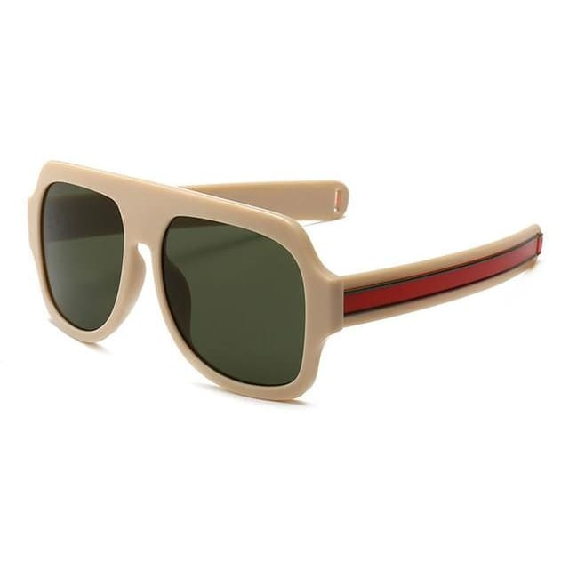 flat brow sunglasses with stripe detail in 6 colors - beige - Sunglasses