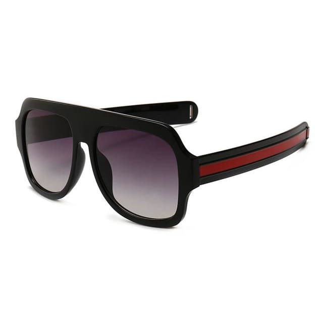 flat brow sunglasses with stripe detail in 6 colors - black - Sunglasses