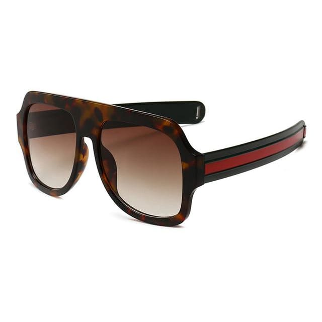 flat brow sunglasses with stripe detail in 6 colors - leopard - Sunglasses
