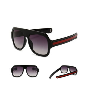 flat brow sunglasses with stripe detail in 6 colors - Sunglasses