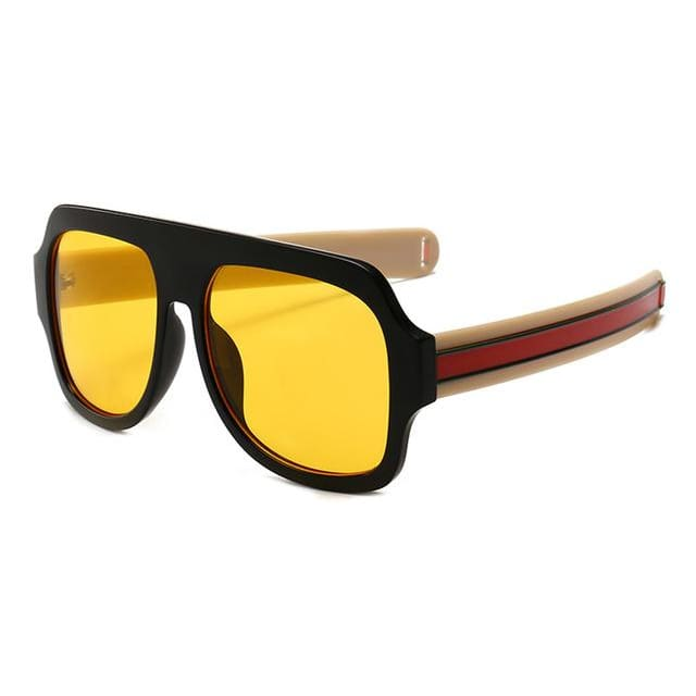 flat brow sunglasses with stripe detail in 6 colors - yellow beige - Sunglasses