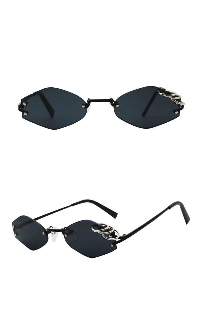 : rimless sunglasses with ring detail DON JUAN
