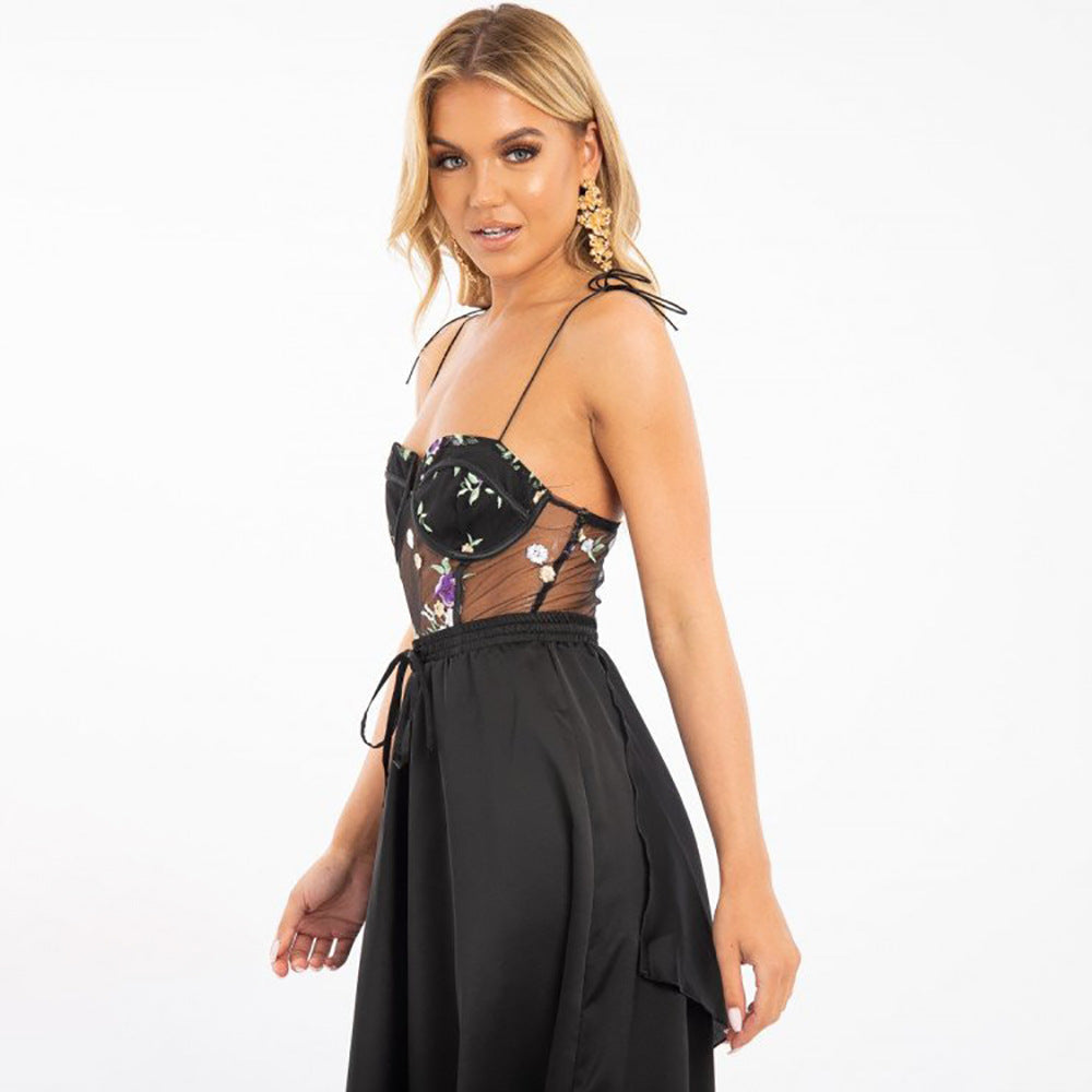 : black floral embroidered corset bodysuit DON JUAN