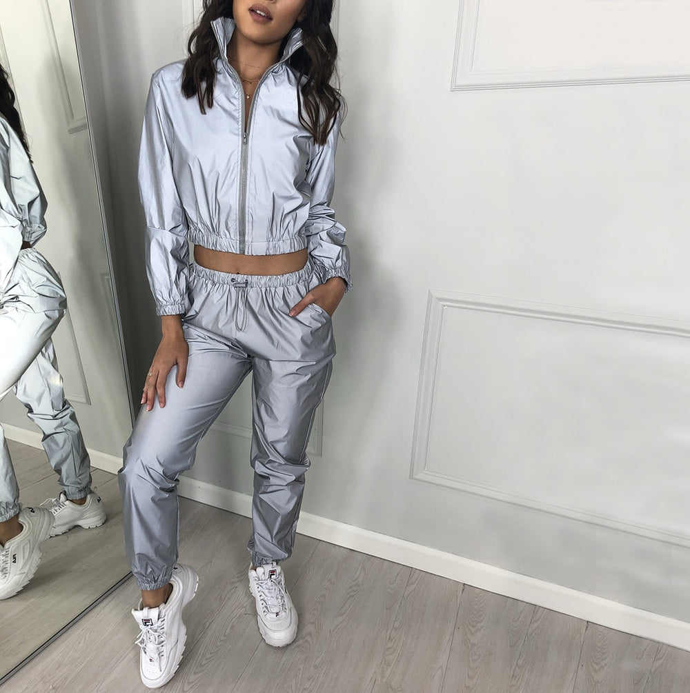 Jackets: reflective tracksuit crop zip jacket / pants with tie DON JUAN