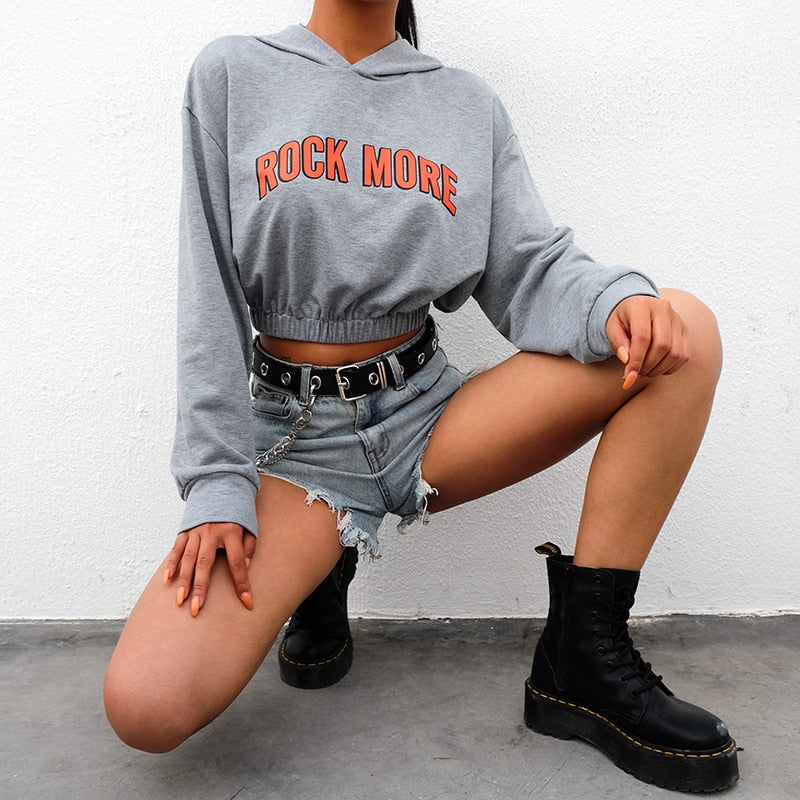 Hoodies: ROCK MORE cropped hoddie DON JUAN