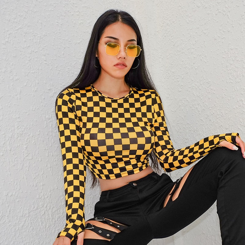 long sleeve crop top in yellow check print