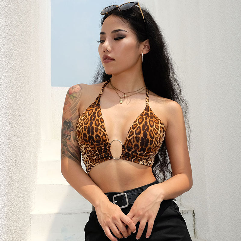 Tops: halter bikini top with ring detail in leopard print DON JUAN