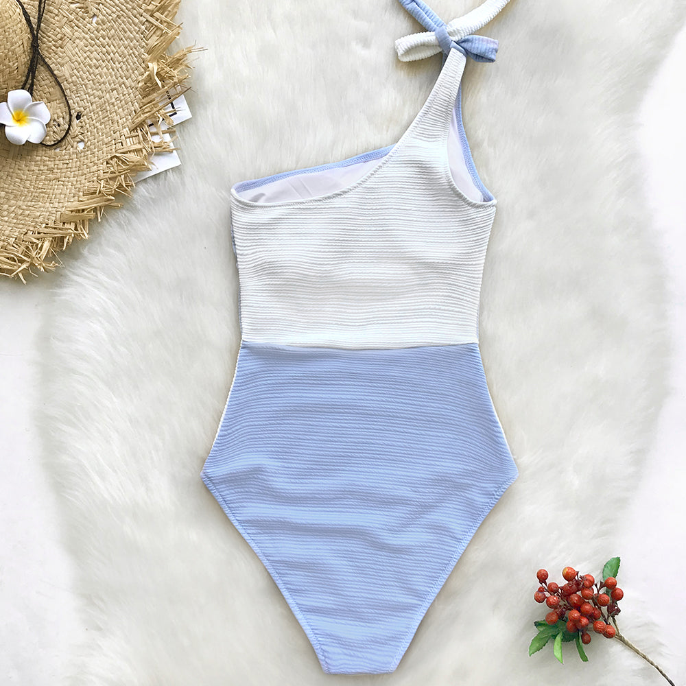 Bikini: one shoulder color block swimsuit DON JUAN