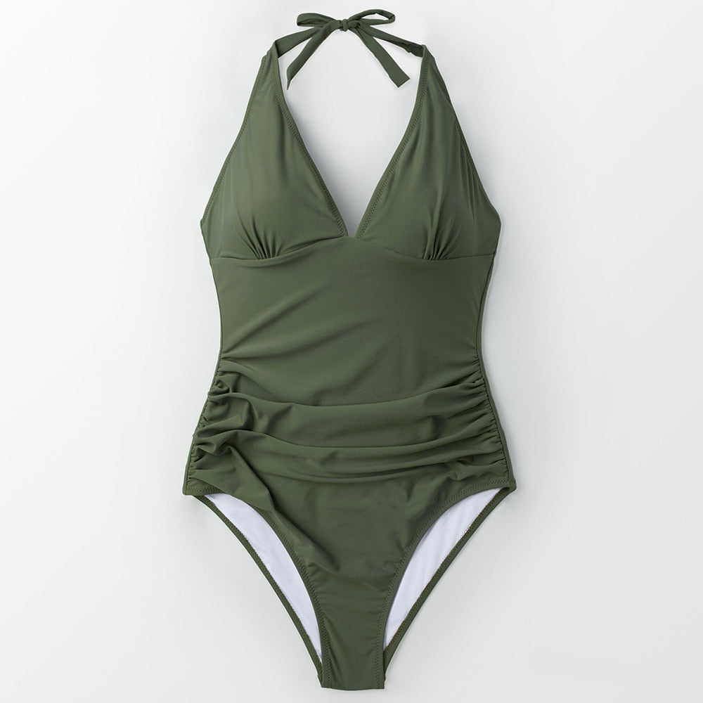 Bikini: halter neck ruched swimsuit DON JUAN