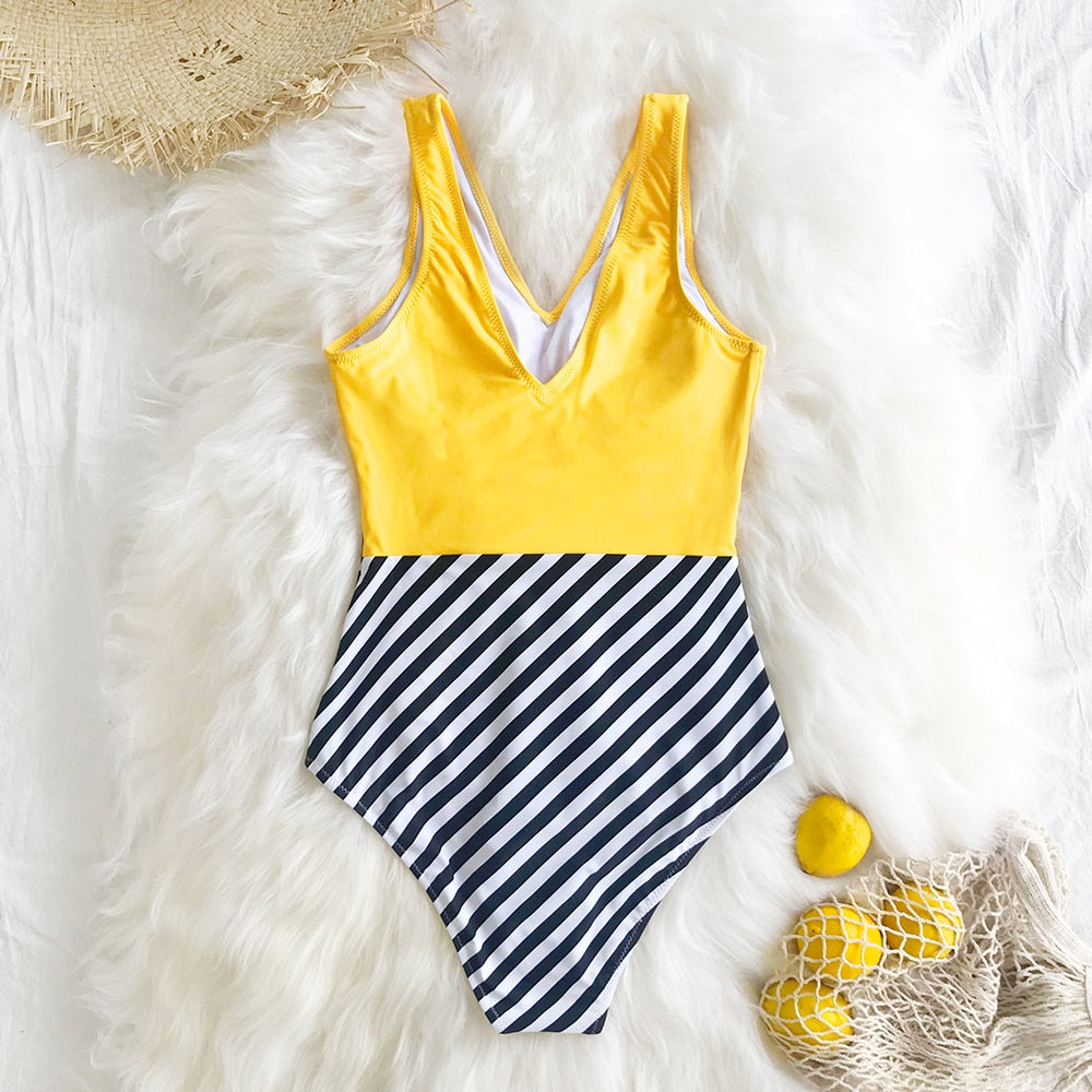 Bikini: v-neck swimsuit in yellow and stripe DON JUAN