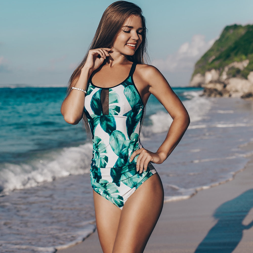 Bikini: cross back mesh insert swimsuit  in leaf print DON JUAN