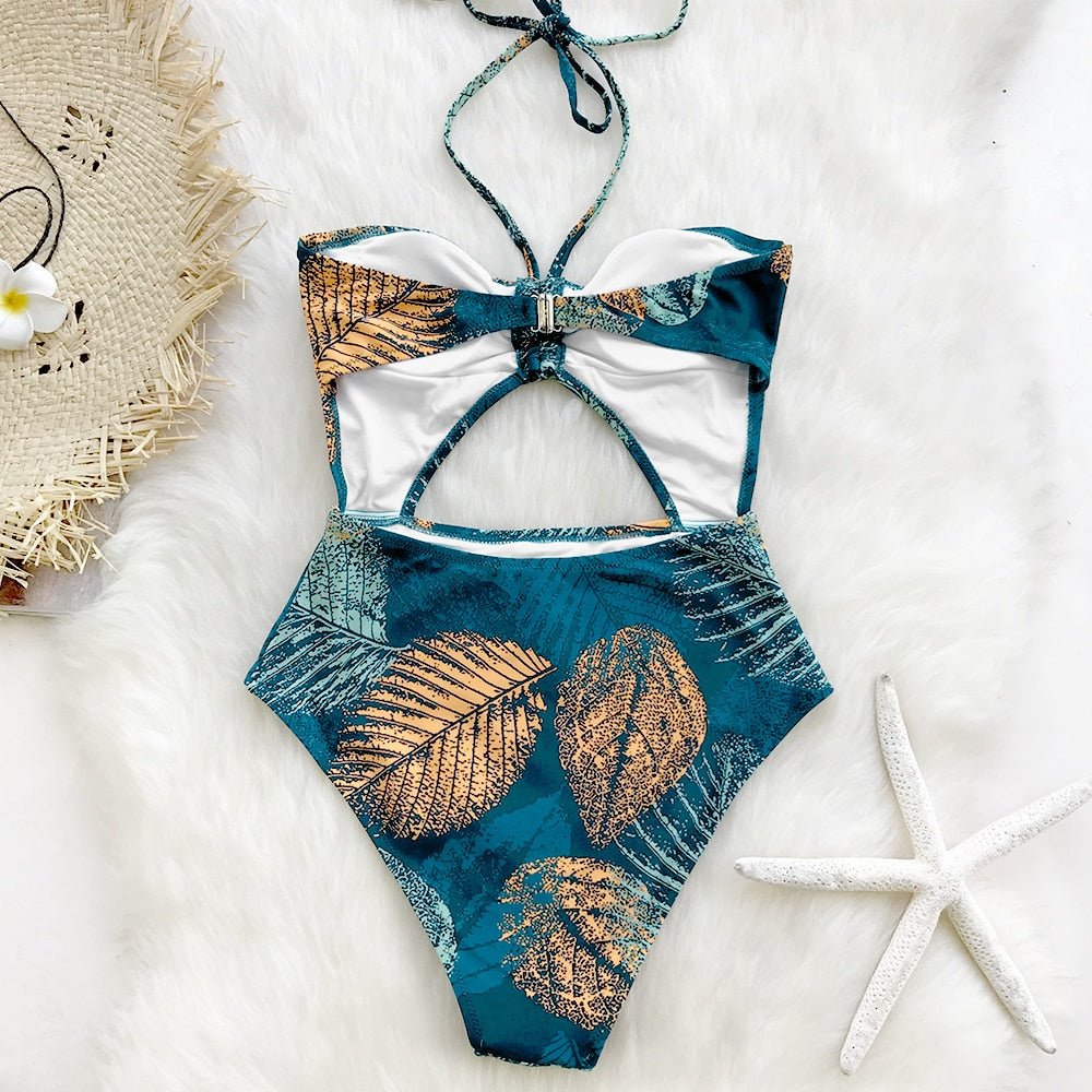 Bikini: cut out detail halter swimsuit DON JUAN