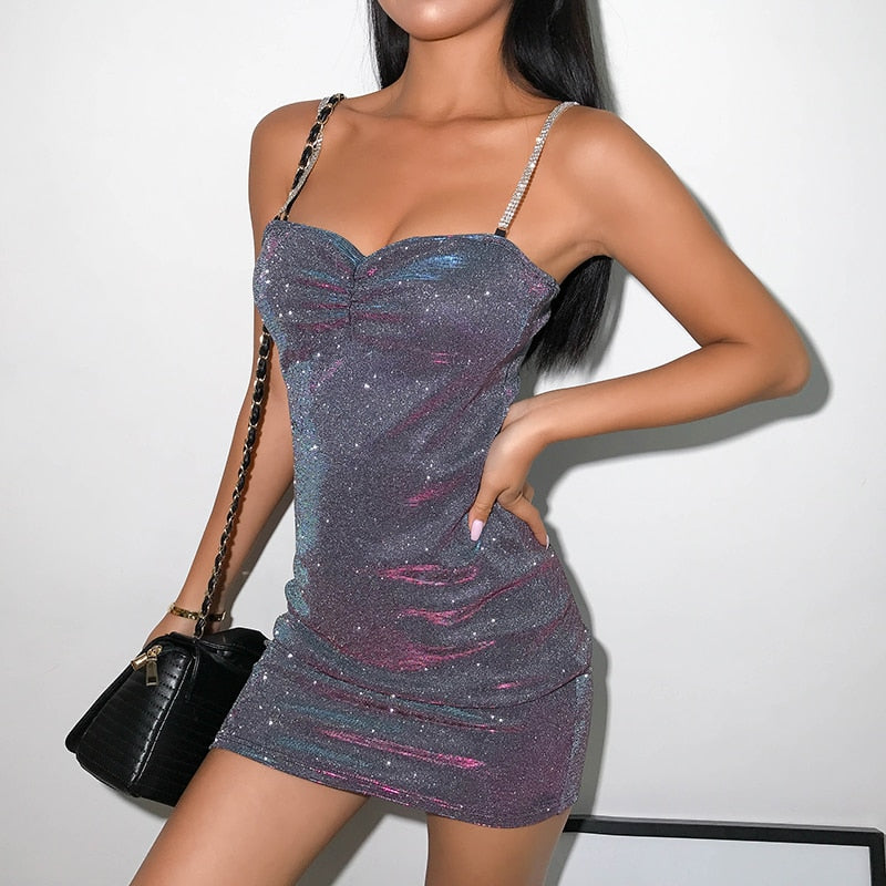 Dresses: mini dress with chain straps in silver glitter DON JUAN
