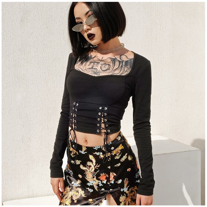: lace up square neck crop top DON JUAN