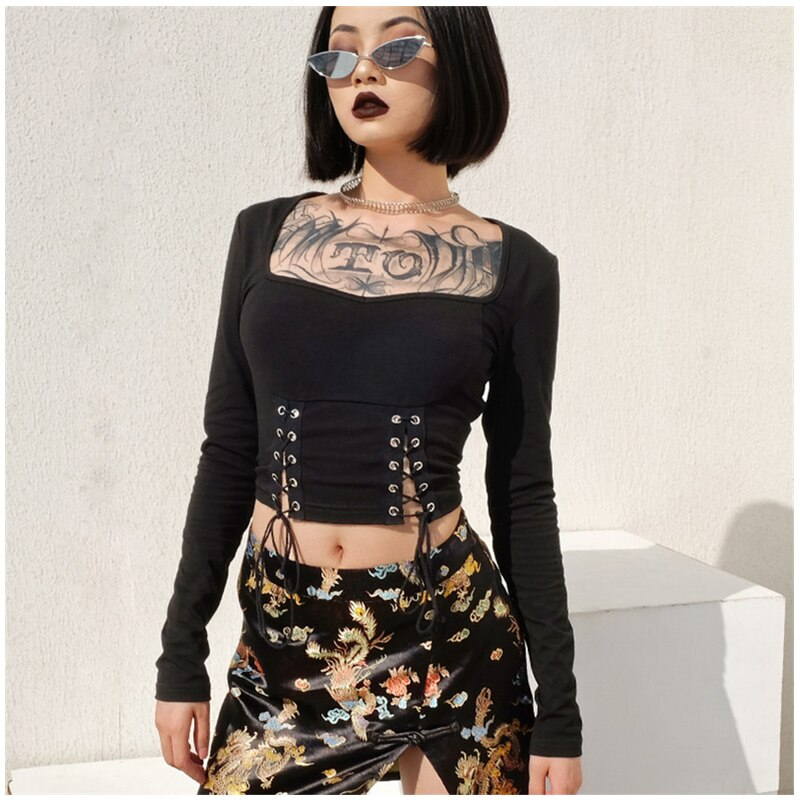 lace up side square neck crop top