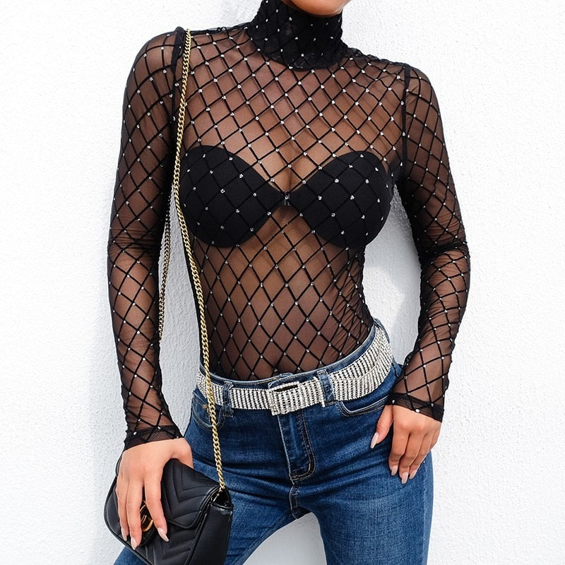 : sequin mesh bodysuit in black DON JUAN