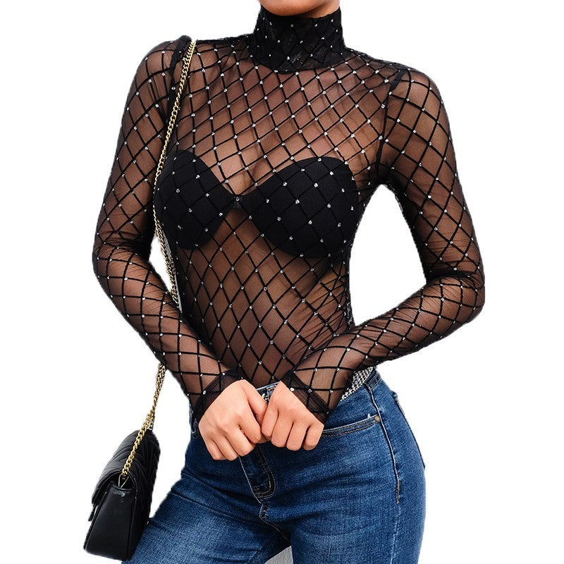 sequin mesh bodysuit in black