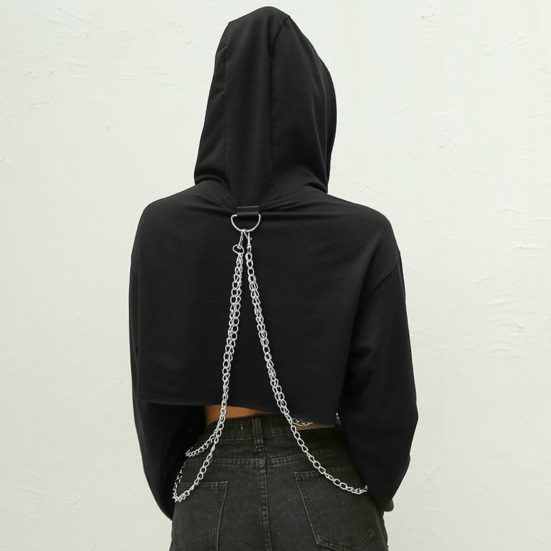 Hoodies: super cropped hoodie with hanging chain detail DON JUAN