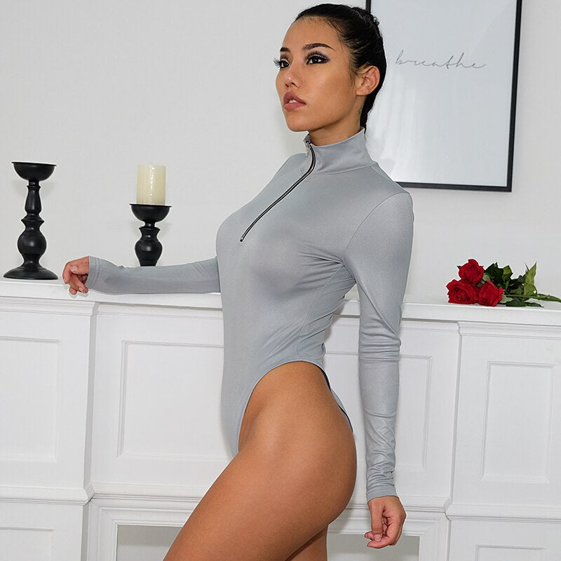 Bodysuits:turtle neck long sleeve body with half zip in silver:VENERA CLUB