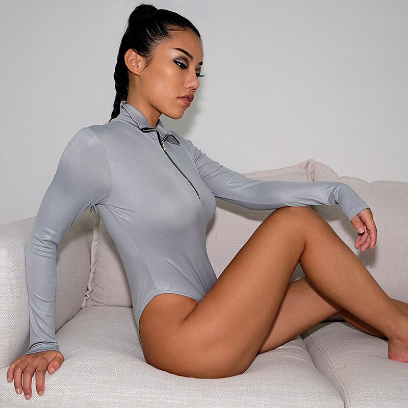 : turtle neck long sleeve body with half zip in silver DON JUAN
