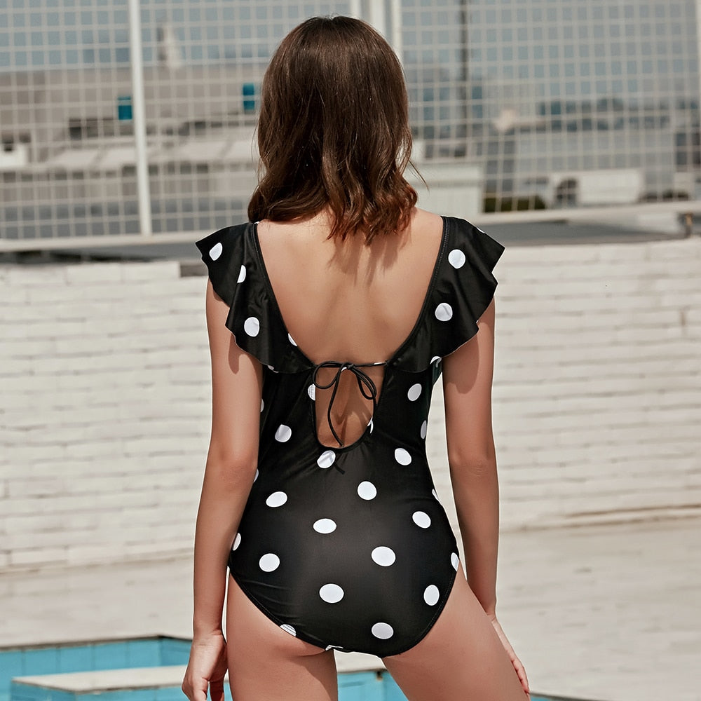 Bikini: ruffle swimsuit in polka dot DON JUAN