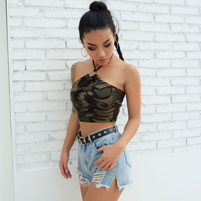 Tops:halter top with ring detail in camo print:VENERA CLUB