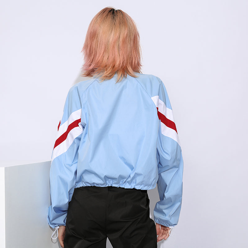 : cropped bomber jacket in blue DON JUAN