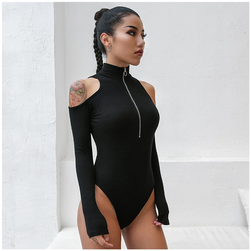 : cut out shoulders bodysuit with half zip DON JUAN