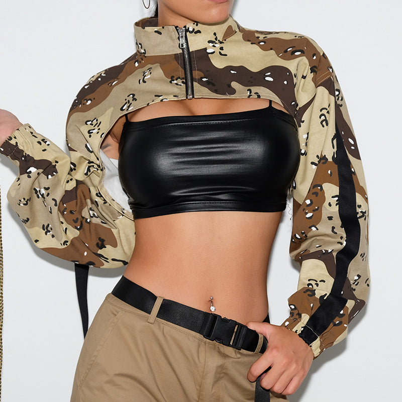 super crop top with zip front in camo print