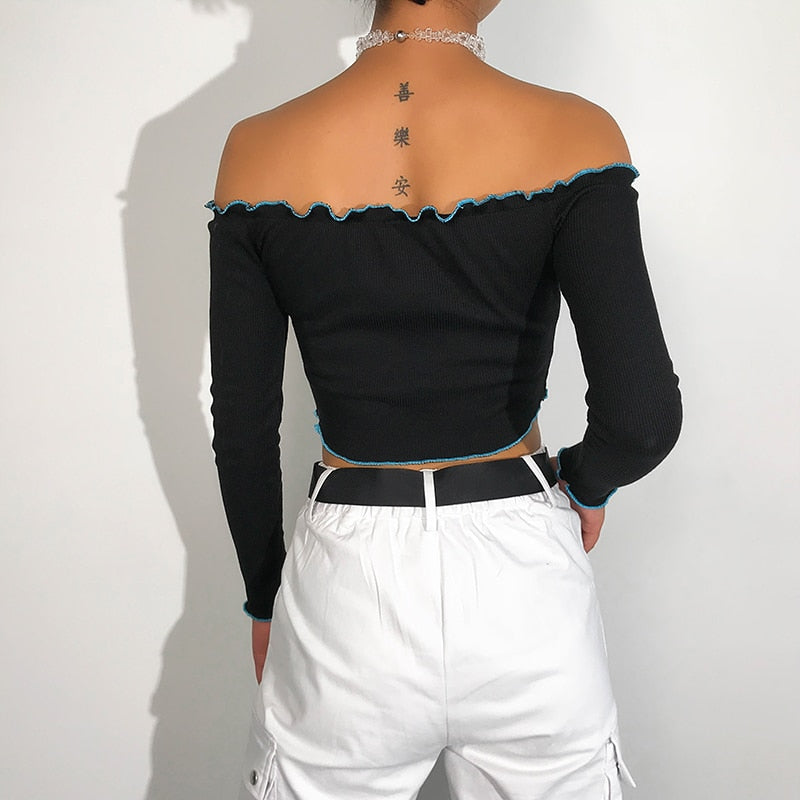 Tops: off shoulder crop top with chest butterfly embroidery DON JUAN