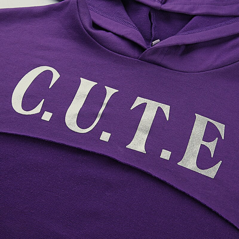 Tops: CUTE super cropped hoodie in purple DON JUAN
