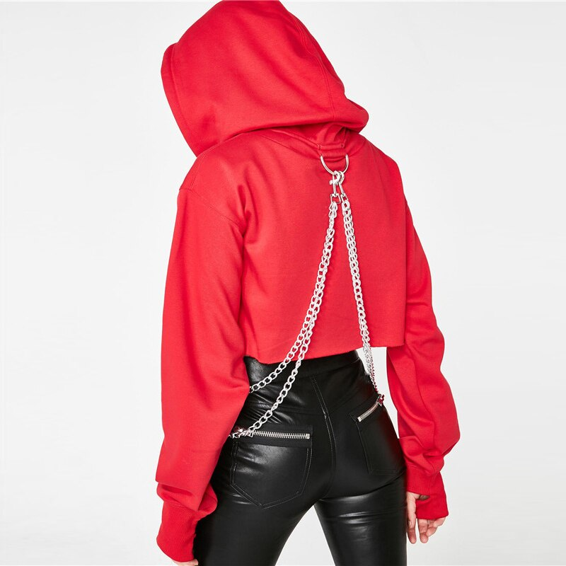 Sweatshirts: cropped hoddie with chain detail DON JUAN