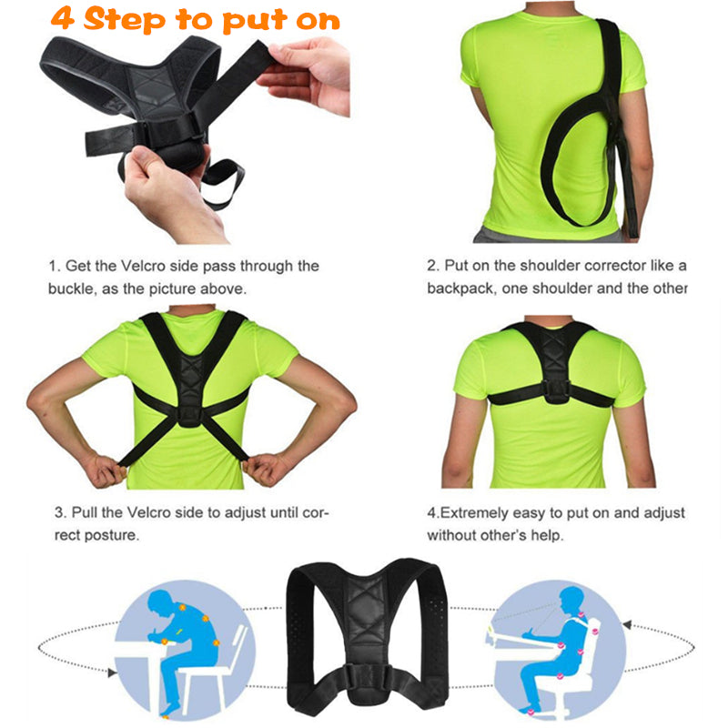 Supports & Braces: medical adjustable back shoulder posture corrector DON JUAN